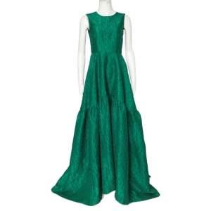 CH Carolina Herrera Green Floral Jacquard Trail Detail Flared Gown S