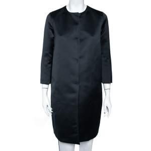 CH Carolina Herrera Midnight Blue Sateen Button Front Coat XS