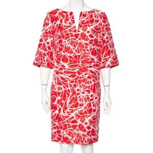 CH Carolina Herrera Red & White Printed Textured Linen Mini Dress L