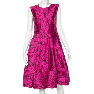 CH Carolina Herrera Pink Embossed Floral Jacquard Sleeveless Dress M