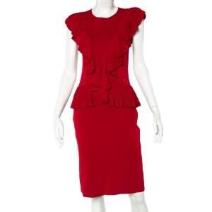 CH Carolina Herrera Red Knit Ruffle Detail Peplum Dress