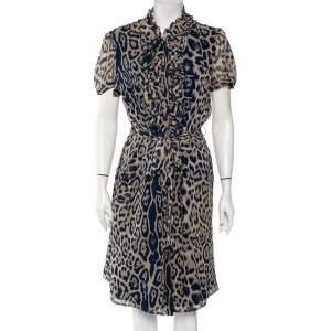CH Carolina Herrera Blue Silk Ruffled Detail Leopard Print Belted Dress L