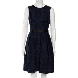 CH Carolina Herrera Navy Blue Brocade Pleated Detail Mini Dress M
