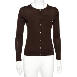 CH Carolina Herrera Brown Wool Front Button Cardigan S