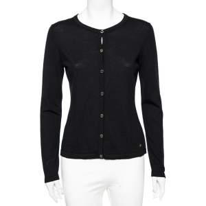 CH Carolina Herrera Black Wool Front Button Cardigan S
