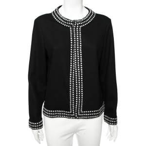 CH Carolina Herrera Black Wool Boucle Trim Detail Open Front Jacket XL