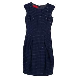 CH Carolina Herrera Navy Blue Textured Sequence Embellished A-Line Midi Dress XS