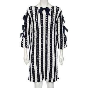 CH Carolina Herrera Navy Blue Striped Crochet Knit Tie Detail Mini Dress L