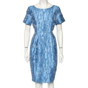 CH Carolina Herrera Blue Textured Silk Flared Mini Dress L