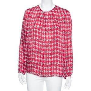 CH Carolina Herrera Red Printed Silk Smocked Cuff Detail Blouse L