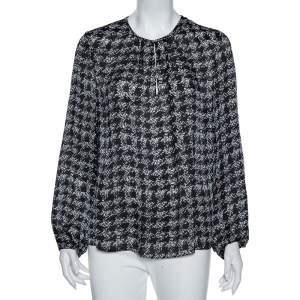 CH Carolina Herrera Monochrome Geometric Print Silk Blouse L