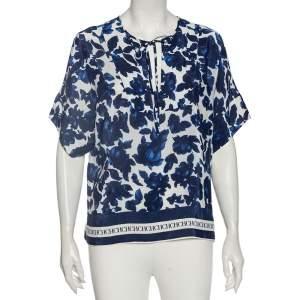CH Carolina Herrera Blue Floral Print Silk Short Sleeve Blouse S