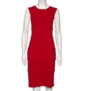 CH Carolina Herrera Red Knit Frill Detailed Sleeveless Dress M