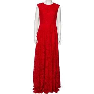 CH Carolina Herrera Red Floral Lace Sleeveless Maxi Dress M