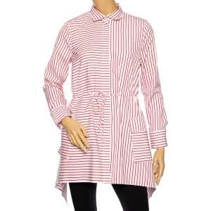 CH Carolina Herrera Red Striped Cotton Asymmetrical Long Sleeve Shirt M