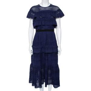 Self-Portrait Navy Blue Cotton Tiered Floral Broderie Anglaise Midi Dress L
