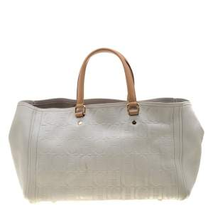 Carolina Herrera White/Beige Monogram Embossed Leather Tote