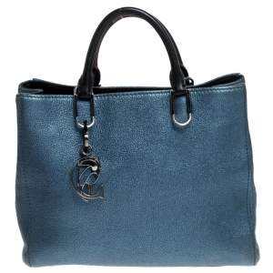 Carolina Herrera Metallic Blue Leather Tote