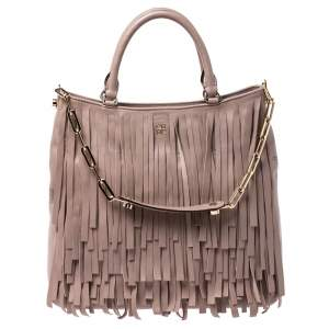 Carolina Herrera Beige Leather Fringe Gaspar Tote