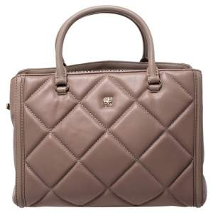 Carolina Herrera Light Brown Quilted Leather Tote