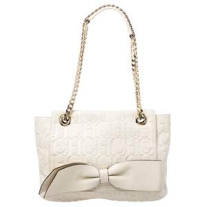 Carolina Herrera Cream Monogram Leather Audrey Shoulder Bag