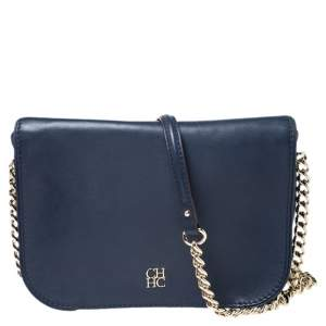 Carolina Herrera Navy Blue Leather Shoulder Bag