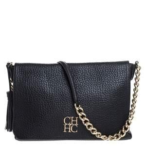 CH Carolina Herrera Black Leather Tassel Messenger Bag