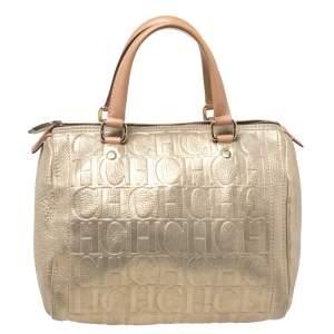 Carolina Herrera Metallic Gold Monogram Leather Andy Boston Bag