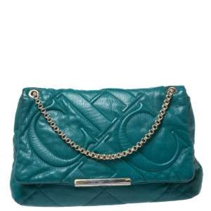 Carolina Herrera Green CH Embossed Leather Flap Chain Shoulder Bag