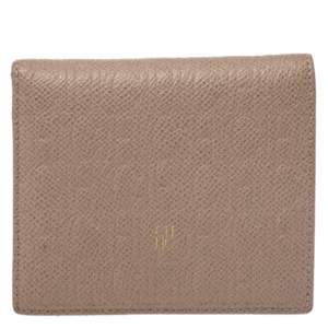 Carolina Herrera Beige Leather Compact Wallet