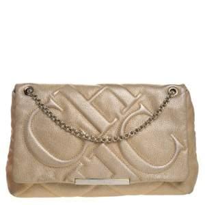 Carolina Herrera Metallic Gold Leather Flap Shoulder Bag