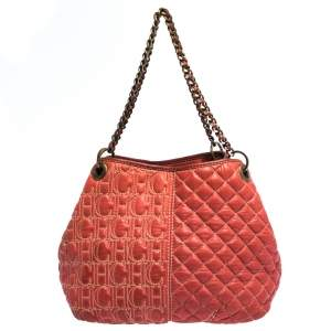 Carolina Herrera Orange Leather Chain Handle Tote