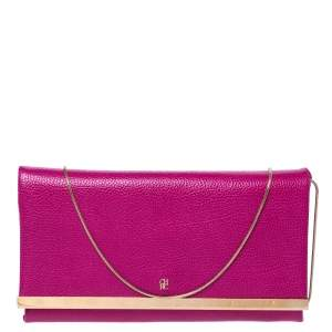 Carolina Herrera Magenta Leather Chain Flap Clutch
