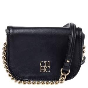 Carolina Herrera Black Leather Flap Crossbody Bag