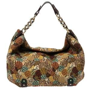 Carolina Herrera Multicolor Signature Print Fabric and Leather Hobo