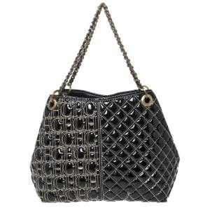 Carolina Herrera Black Monogram Patent Leather Shoulder Bag