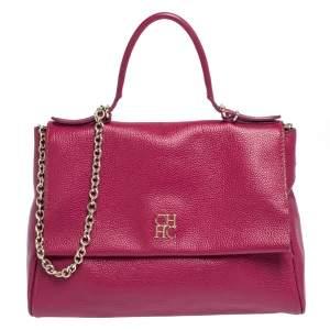 Carolina Herrera Magenta Leather Minuetto Flap Top Handle Bag