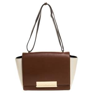 Carolina Herrera Bicolor Leather Flap Shoulder Bag