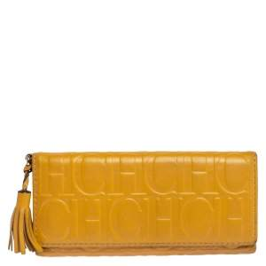 Carolina Herrera Yellow Monogram Leather Continental Wallet