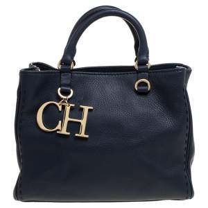 Carolina Herrera Navy Blue Leather Charm Tote