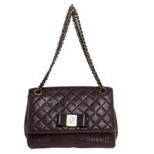 CH Carolina Herrera Dark Brown Leather Bow Shoulder Bag