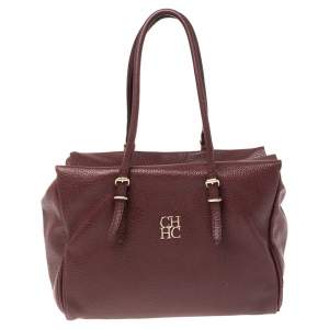 CH Carolina Herrera Burgundy Pebbled Leather Satchel