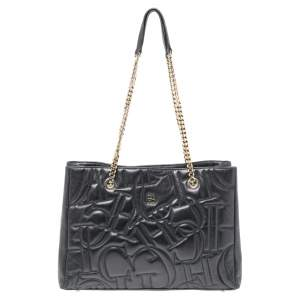 CH Carolina Herrera Black Quilted Leather Shopper Tote