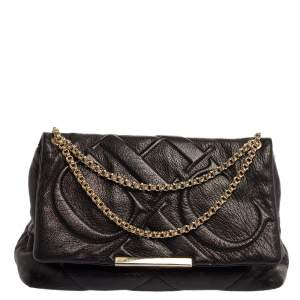Carolina Herrera Black Embossed Leather Flap Chain Shoulder Bag