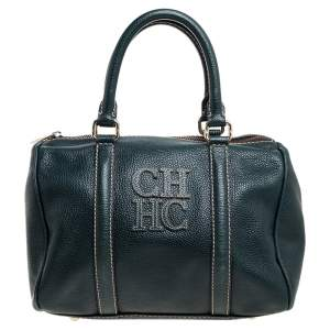 Carolina Herrera Green Monogram Leather Andy Boston Bag
