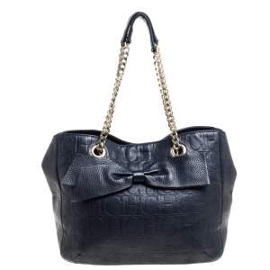 Carolina Herrera Navy Blue Monogram Leather Audrey Tote