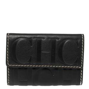 Carolina Herrera Black Monogram Leather Flap Compact Wallet