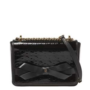 CH Carolina Herrera Black Patent Leather Monogram Embossed Bow Shoulder Bag