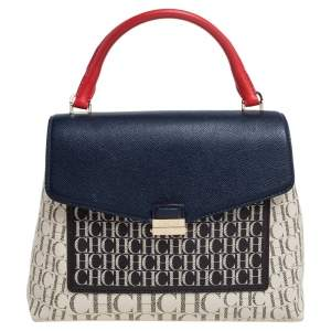Carolina Herrera Multicolor Monogram Coated Canvas Top Handle Bag