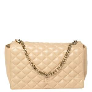 CH Carolina Herrera Beige Quilted Leather Shoulder Bag